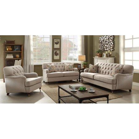 Button Tufted Beige Fabric Sofa Set 3Pcs Acme Furniture 52580 Alianza