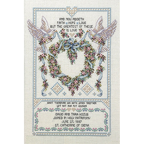 "Platinum Collection Wedding Doves Counted Cross-Stitch Kit, 12"" x 17"", 14-Count"