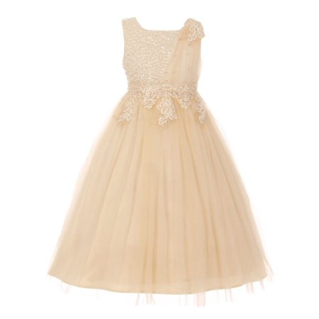 Cream Lace Dress (Girls Cream Pearl Bead Coiled Lace Satin Tulle Junior Bridesmaid Dress 8-16 )