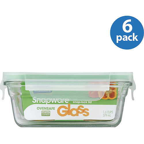 DO NOT PUBLISHSnapware Glasslock Oven Safe 1.6-Cup Rectangle Container w/ Lid, 6-Pack
