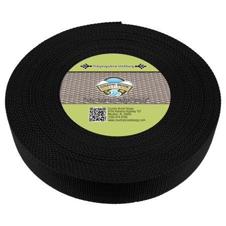 Country Brook Design® 2 Inch Black Polypropylene (Polypro) Webbing ()