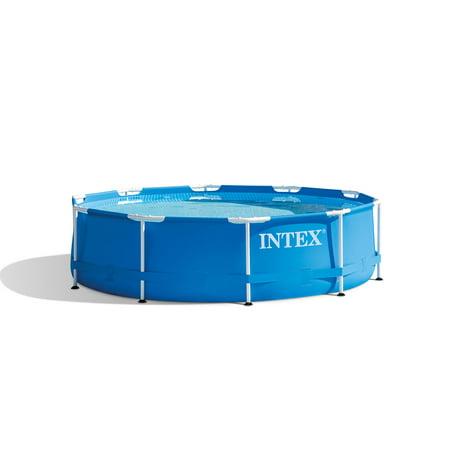 Intex 10 x 2.5 Foot Round Metal Frame Backyard Above Ground Swimming Pool, Blue
