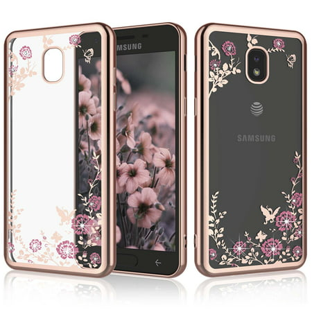 new arrival eaad8 6a429 Cases Samsung Galaxy J3 (2018) / J3V J3 V 3rd Gen / Express Prime 3 / J3  Star, Njjex Glitter Cute Phone Case Girls Bling Diamond Rhinestone Bumper  ...