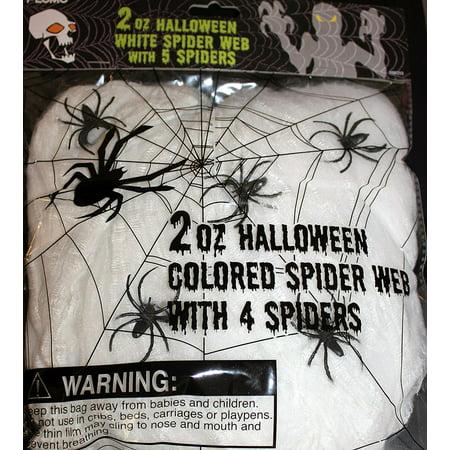 Halloween Spider Webbing (White Spider Web with 5 Spiders Halloween Hanging Webbing 2 Ounce Bag)