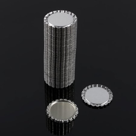 Sonew 100pcs Flat 1  Silver Color Tinplate Bottle Caps Lids Cover without Hole, Bottle Cork, Seal - image 7 of 7