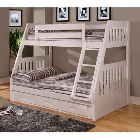 American Furniture Clics Twin Over Full Wood Bunk Bed With Storage Clic White