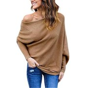 Women Solid Long Sleeve One-Shoulder Sweater Loose Batwing Pullover
