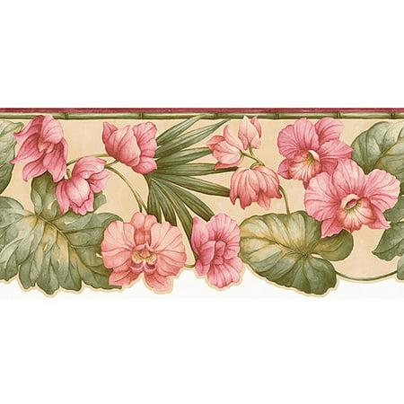 floral tropical wallpaper border