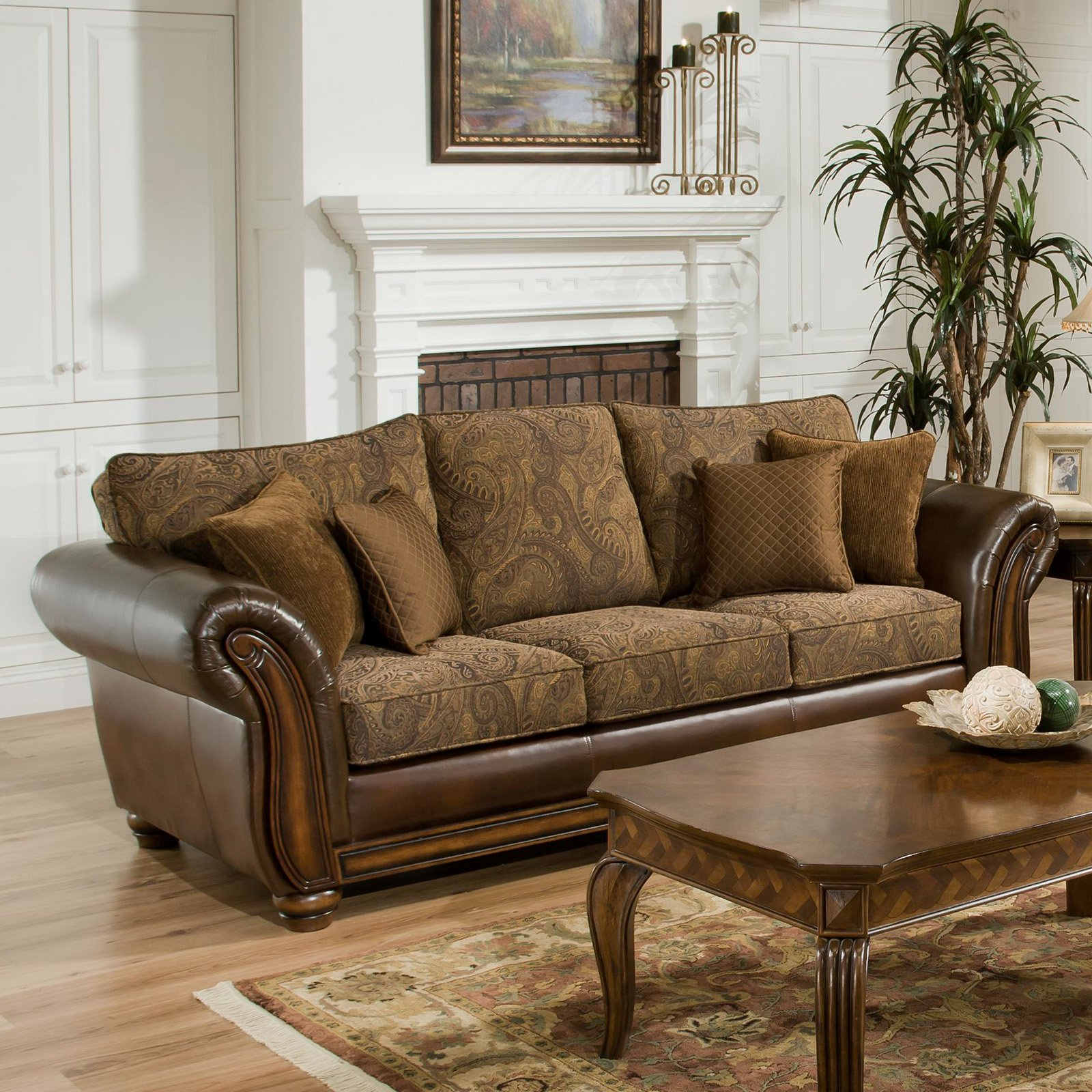 Simmons Zephyr Vintage Leather And Chenille Sofa With Accent Pillows