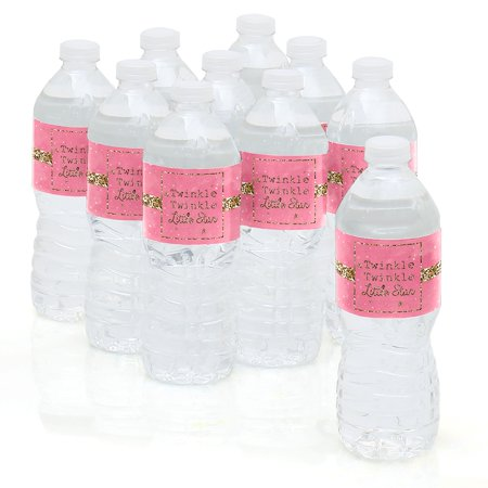 Pink Twinkle Little Star - Baby Shower or Birthday Party Water Bottle Sticker Labels - Set of 10