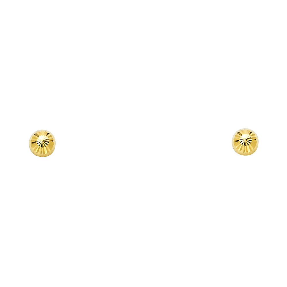5mm Girls Women 14k Yellow Gold Half Ball Earrings Fluted Flat Back Safety Screwback Covered Back 4