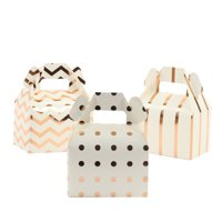 Rose Gold Foil Chevron, Polka Dots, Striped Gable Boxes With Handle, 36-Pack for Wedding, Baby Shower, Birthday, Baptism
