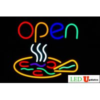 Pizza LED open sign 22 x 19 + on/off switch UL power supply Neon Alternative