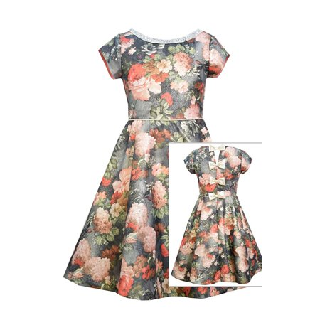 8fbcdacca4f Bonnie Jean - Bonnie Jean Big Girl Tween 7-16 Gold Metallic Floral Jacquard  Back Bow Fit Flare Dress - Walmart.com