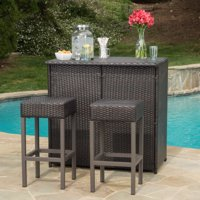 Colina Outdoor 3 Piece Wicker Bar Island Set, Multibrown