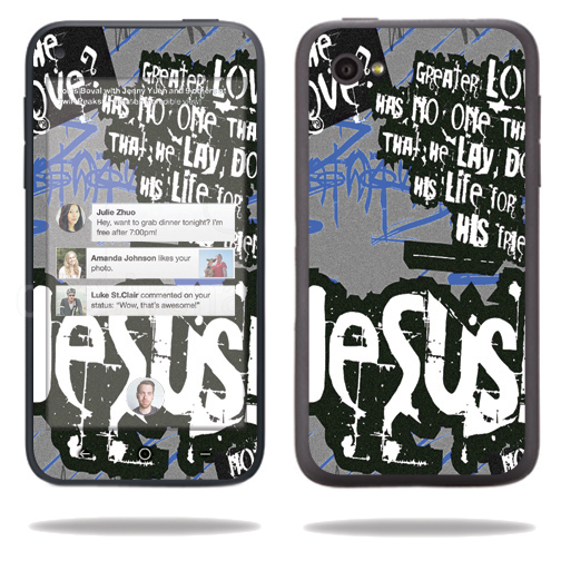 Mightyskins Protective Vinyl Skin Decal Cover for HTC First Cell Phone wrap sticker skins Love Jesus