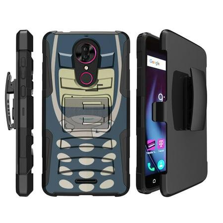 Retro Tech Case for T-Mobile Revvl Plus | Coolpad Revvl Plus Retro Clip Holster Case [ Rugged Design Case for Revvl Plus ] Old School Cell Design Case for Revvl Plus - Indestructible Brick