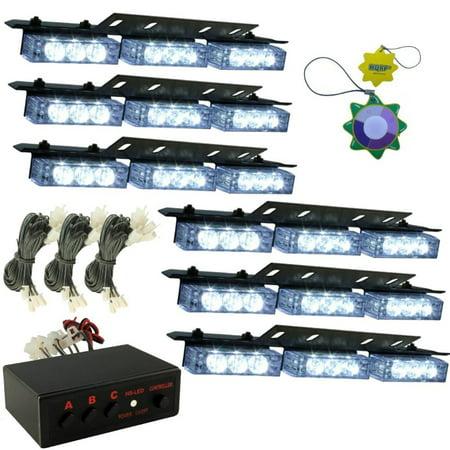 HQRP 54 LED Emergency Warning Strobe Lights Bars for Deck Dash Grille 6 White Panels 12v DC plus HQRP UV Meter Emergency Signal Strobe Light
