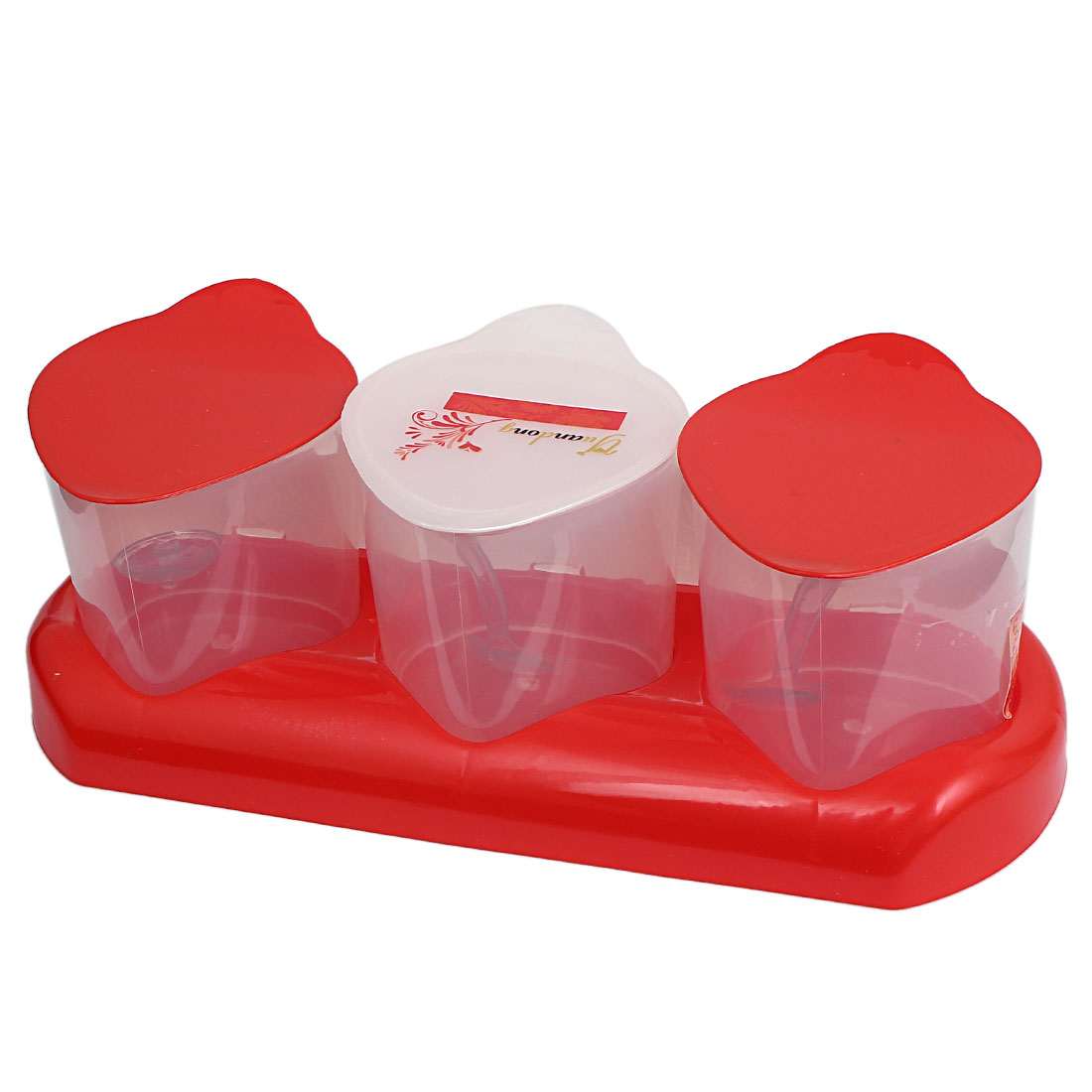 Unique Bargains Funny Strawberry Shape Condiment Holder Dispenser Container Caddy Tray