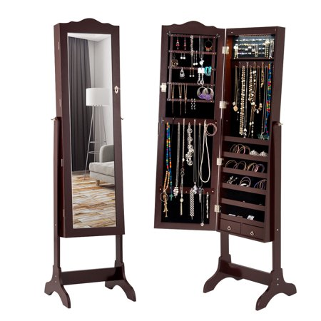 Gymax Mirrored Jewelry Cabinet Armoire Storage Organizer W