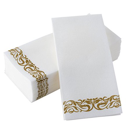 BloominGoods Disposable Hand Towels & Decorative Bathroom Napkins | Soft and Absorbent Linen-Feel Paper Guest Towels for Kitchen, Parties, Weddings, Dinners or Events | White and Gold (100-Pack) - image 1 of 2