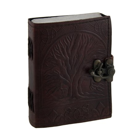 Embossed Leather Tree of Life Journal with Brass Clasp 3 1/2 in. X 5 in. (Tree Of Life Journal Lock)