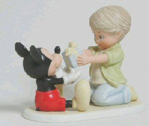 Disney and Me 4004003 You're a Gift to Me Mickey Mouse and Boy with Present by Enesco