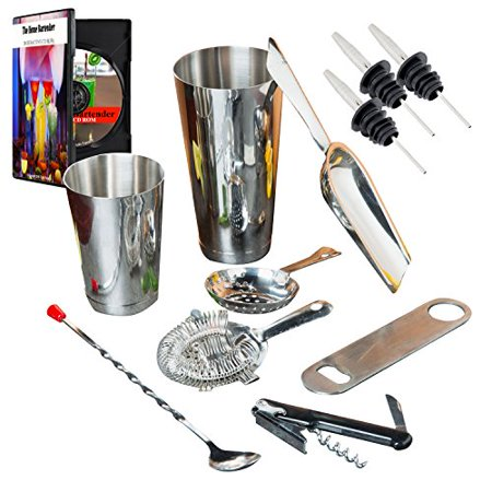 Bartending Starter Kit - Barware Set & Bar Kit Supplies Professional Drink Mixing Stainless Steel Coacktail & Exclusive Interactive CD ROM](Bar Ware)