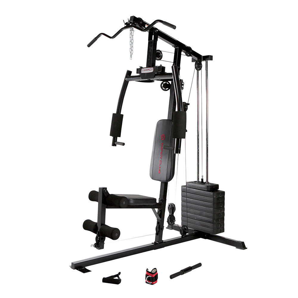 Marcy 120 Lb. Single Stack Home Gym with Pulley, Press Arm, Leg Developer | MKM-1101