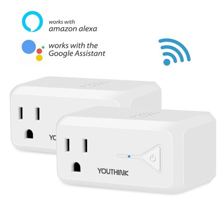 WiFi Smart Plug Wireless Enabled Mini Socket Outlet Compatible with Amazon Alexa Echo and Google Home,No Hub Required,Voice or App Remote Control with Timing Function (2 Pack) ()