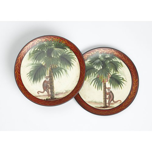 AA Importing 2 Piece Monkey and Palm Tree Plate Set by AA Importing