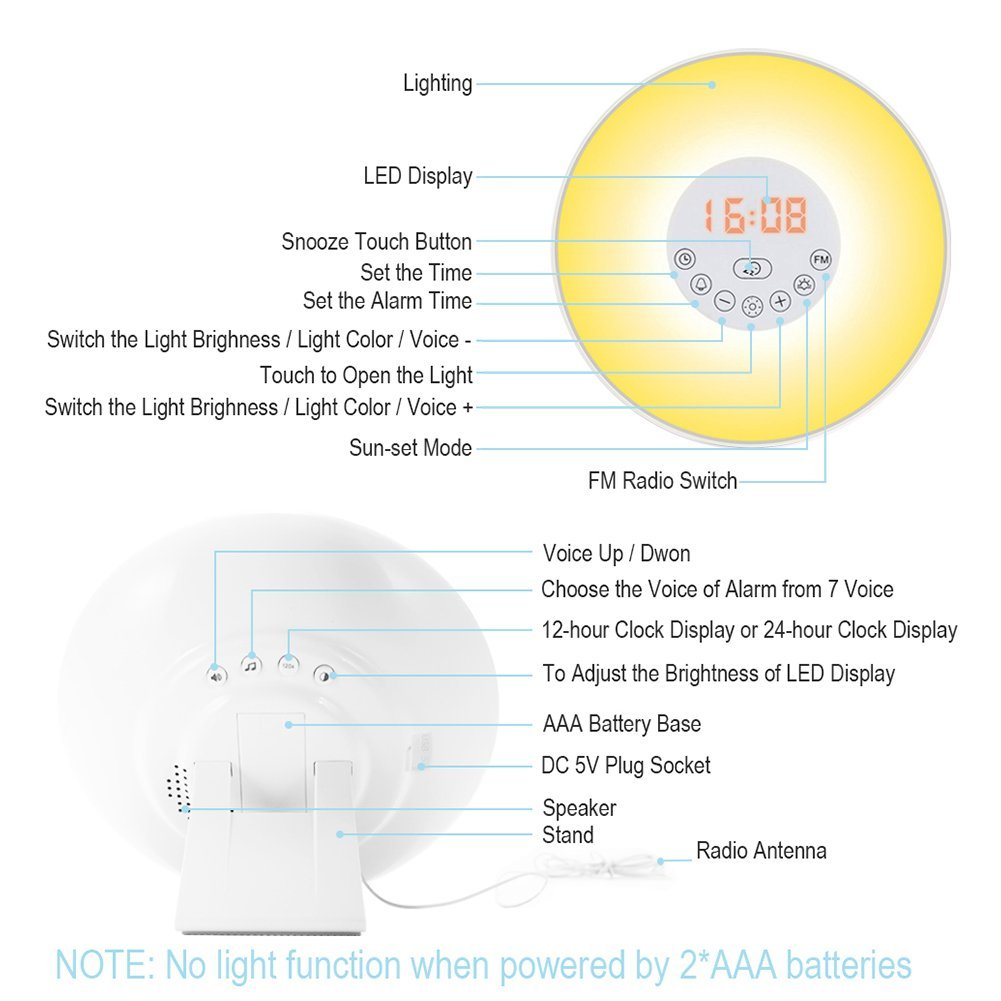 Sunrise Alarm Clock Wake Up Light Simulation 24hour Digital And Timer Circuit With Nature Sounds Fm Radio Touch Control Usb Charger