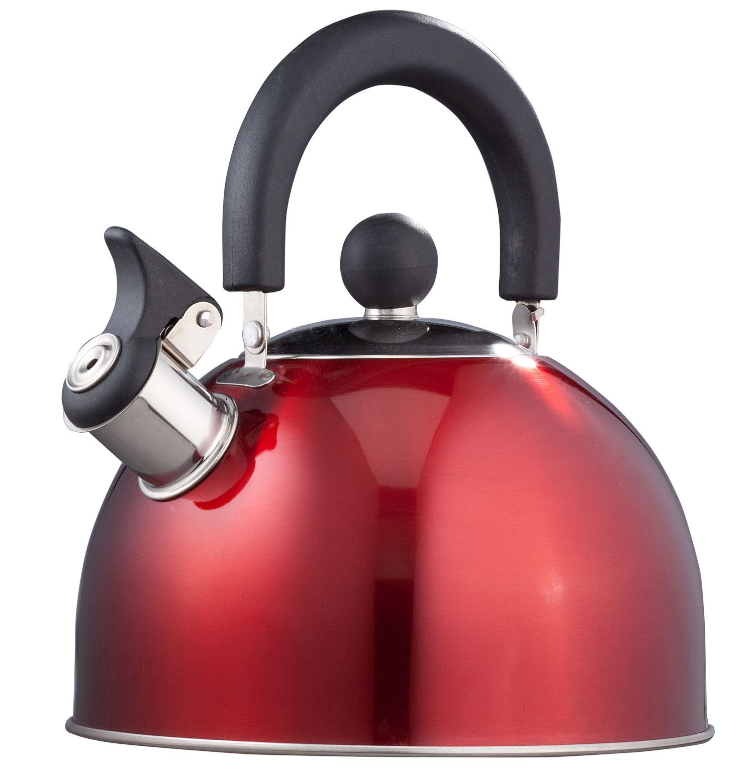 Miles Kimball   Red Whistling Tea Kettle by Home-Style Kitchen