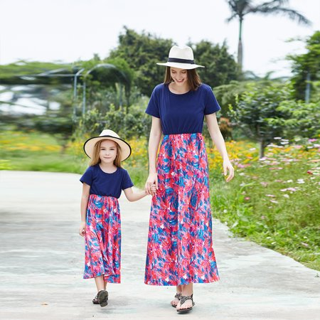 Patchwork Hippie Clothing (Parent-Child Dress Family Clothes Outfits Mommy and Me Matching Short sleeve Round Collar Patchwork Floral Maxi Boho Womens Girls Beach Dresses)