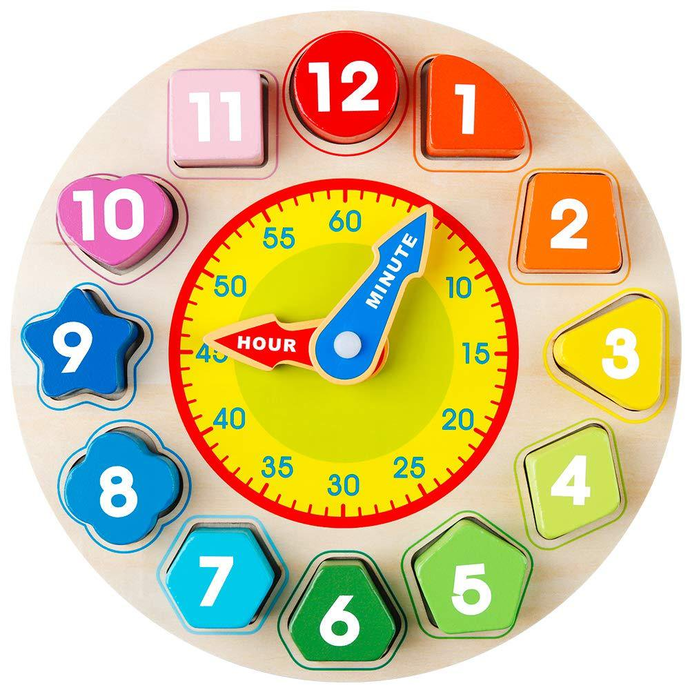 Coogam Wooden Shape Color Sorting Clock – Teaching Time Number Blocks Puzzle Stacking Sorter Jigsaw Montessori Early Learning Educational Toy...