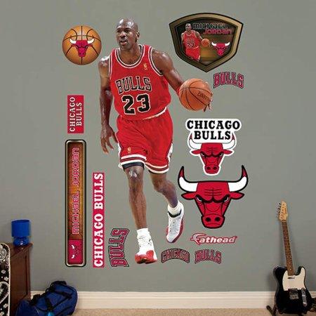 promo code f0266 460f4 Michael Jordan Chicago Bulls Fathead Real Big Peel and Stick Life-Size Wall  Graphic - No Size - Walmart.com