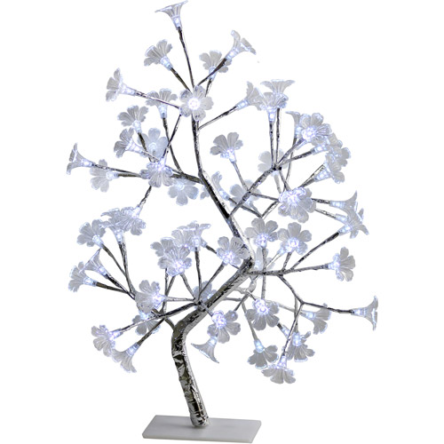 Simple Designs White Morning Glory LED Lighted Decorative Tree
