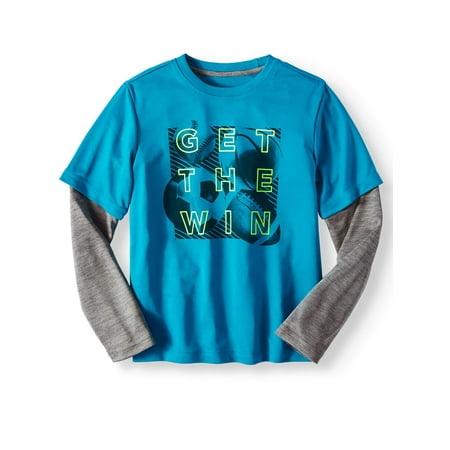 Athletic Works Long Sleeve Hangdown Graphic Tee Shirt (Little Boys & Big Boys)