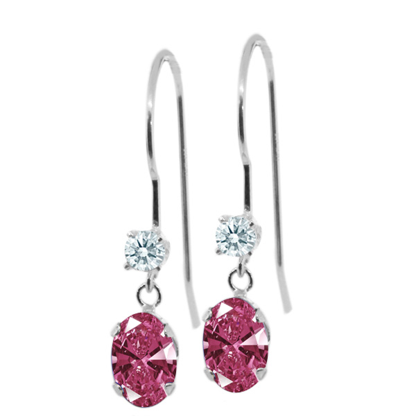 0.96 Ct Red 14k White Gold Earrings Made With Swarovski Zirconia