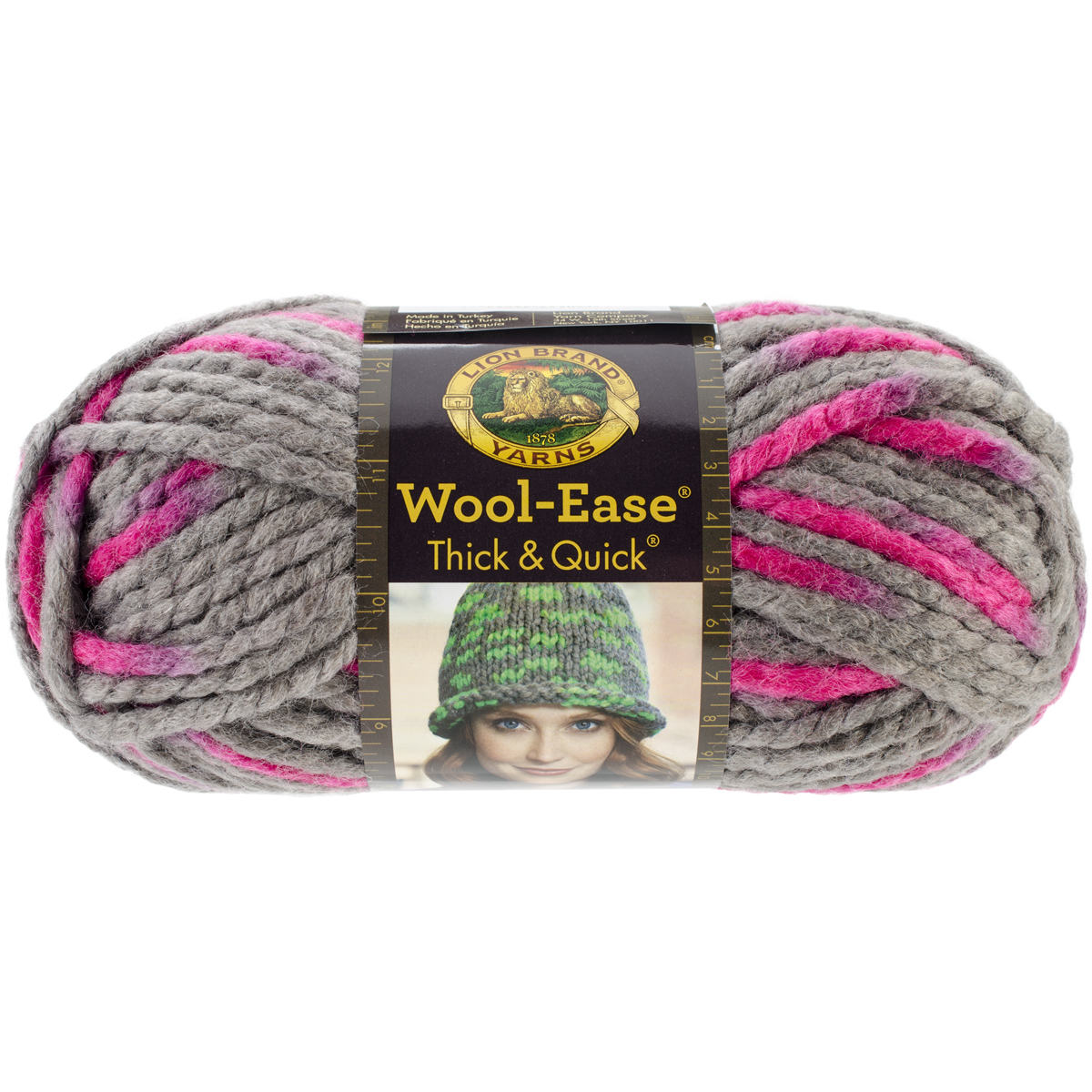 Lion Brand Wool-Ease Thick and Quick Yarn, Flamingo Multi-Colored