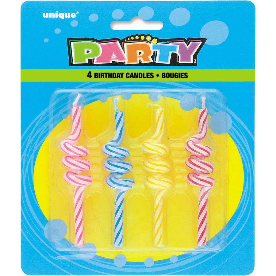 Coil Shaped Birthday Candles, 3.25 in, Multicolor, 4ct