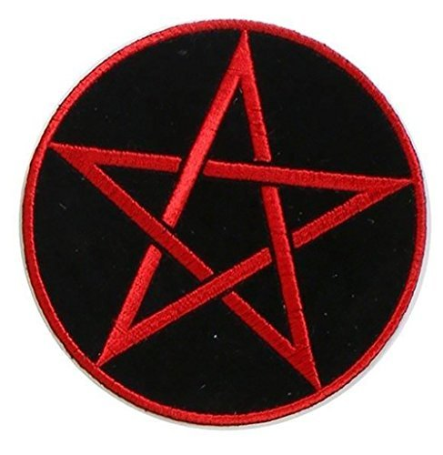 "[Single Count] Custom and Unique (4 Inches) ""Pagen"" Five Pointed Pentagram Star in Circle Iron On Embroidered Applique Patch {Black and Red Colors}"