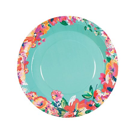 Fun Express - Bright Floral Dinner Plates (8pc) for Wedding - Party Supplies - Print Tableware - Print Plates & Bowls - Wedding - 8 Pieces