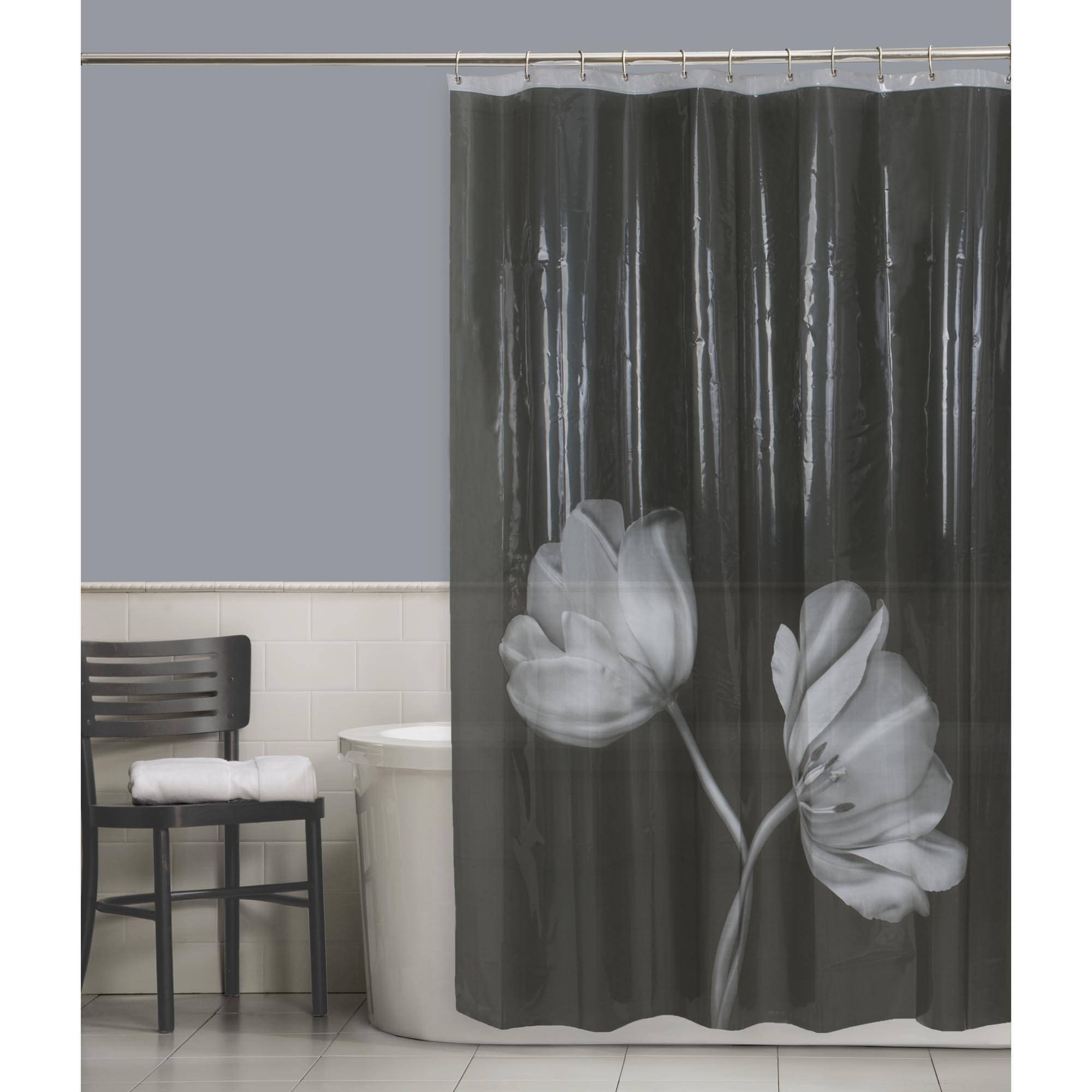 Maytex Tulip PEVA Vinyl Shower Curtain, Black