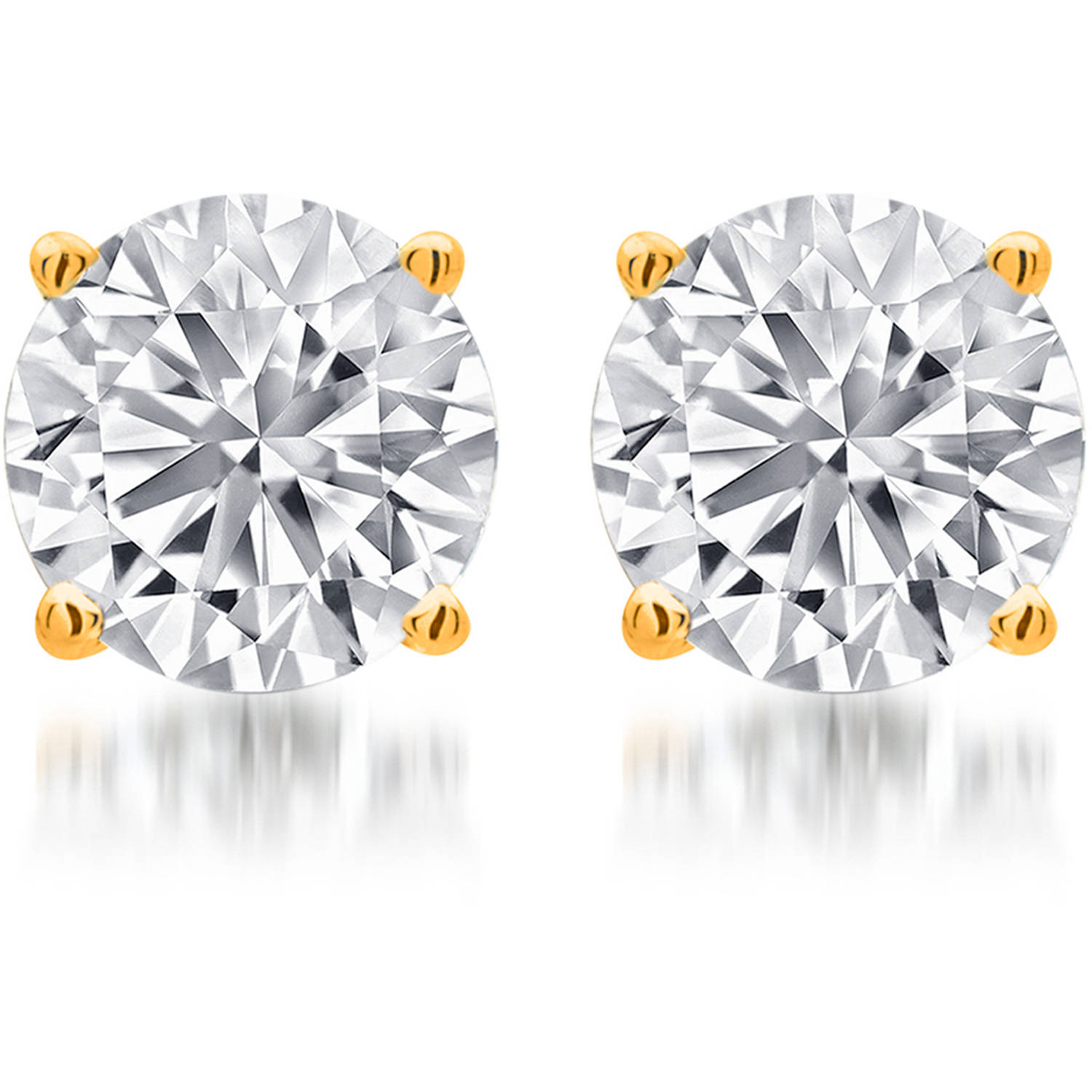 1 Carat T.W. Round White Diamond Yellow Gold over Sterling Silver Stud Earrings