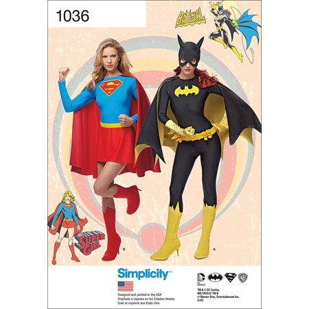 Simplicity Misses' Supergirl and Batgirl Costumes, 6-8-10-12-14 - Scarecrow Halloween Costume Pattern