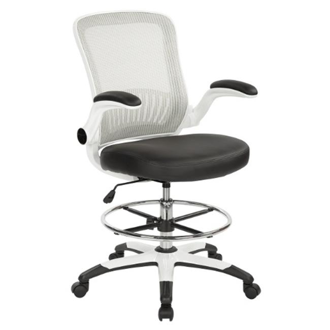 Mesh Back Drafting Chair-Color:Black/White,Material:Fabri...