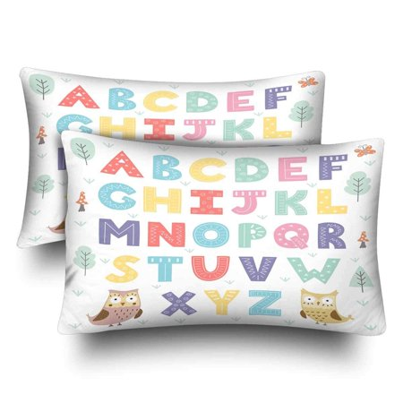 GCKG Funny Forest Alphabet for Kids Pillow Cases Pillowcase 20x30 inches Set of 2 Educational Learning - image 1 of 4