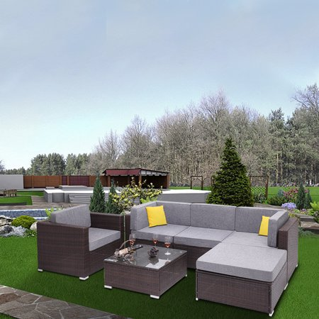6PCS Outdoor Patio Sectional Sofa Clearance, SEGAMRT 5 Seater Luxury Comfort Grey Wicker Couch, Durable All-Weather PE Rattan Sectional w/Ottoman, Glass Table Top for Backyard Poolside Garden, S7618