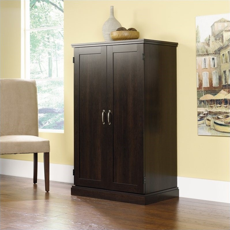 Sauder Computer Armoire Cinnamon Cherry Finish